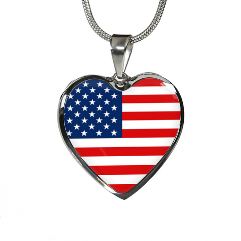 American Pride - Heart Pendant Luxury Necklace
