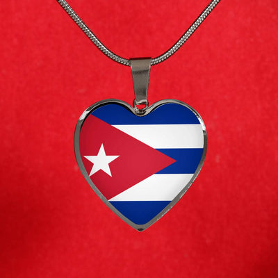 Cuban Flag - Heart Pendant Luxury Necklace