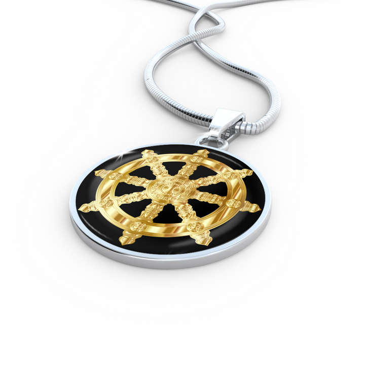 Golden Dharma Wheel - Luxury Necklace - Unique Gifts Store