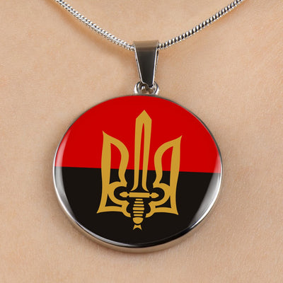 Stylized Tryzub And Red-Black Flag - Luxury Necklace