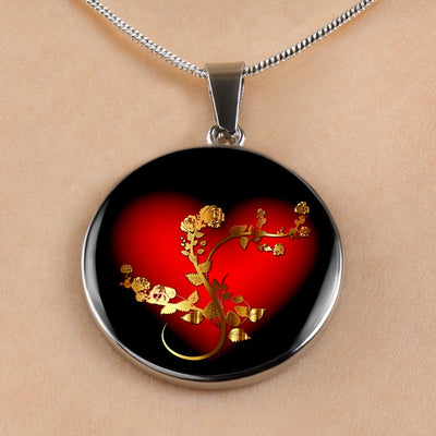 Golden Rose And Heart - Luxury Necklace