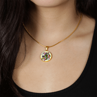 Bird And Flowers - 18k Gold Finished Luxury Necklace