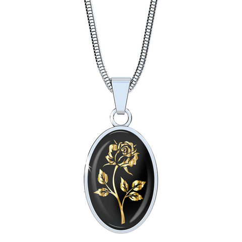 Gold Rose - Oval Pendant Luxury Necklace - Unique Gifts Store