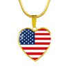 American Flag - 18k Gold Finished Heart Pendant Luxury Necklace