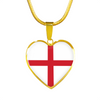 English Flag - 18k Gold Finished Heart Pendant Luxury Necklace