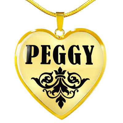 Peggy v01 - 18k Gold Finished Heart Pendant Luxury Necklace