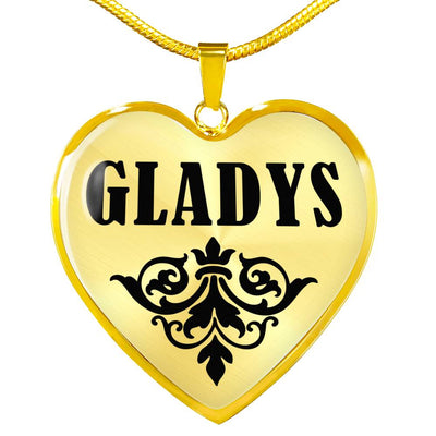 Gladys v01 - 18k Gold Finished Heart Pendant Luxury Necklace