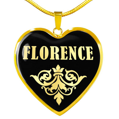 Florence v02 - 18k Gold Finished Heart Pendant Luxury Necklace