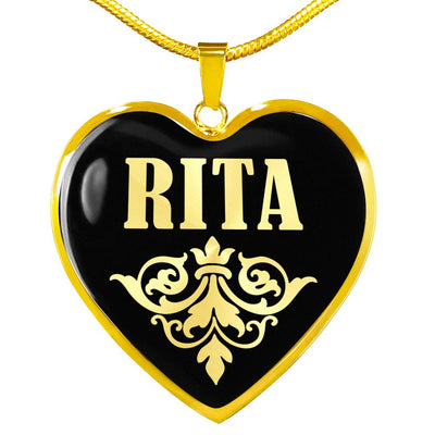 Rita v02 - 18k Gold Finished Heart Pendant Luxury Necklace