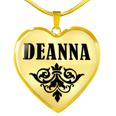 Deanna v01 - 18k Gold Finished Heart Pendant Luxury Necklace