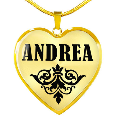 Andrea v01 - 18k Gold Finished Heart Pendant Luxury Necklace