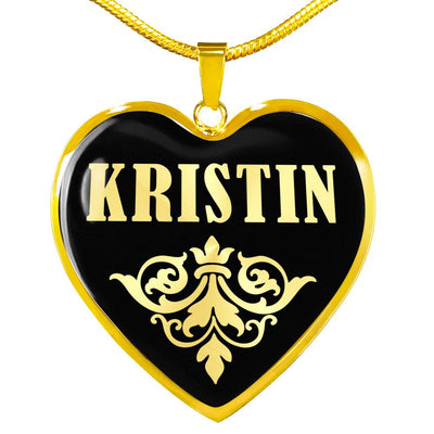 Kristin v02 - 18k Gold Finished Heart Pendant Luxury Necklace