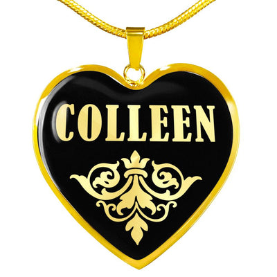 Colleen v02 - 18k Gold Finished Heart Pendant Luxury Necklace