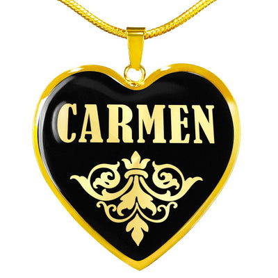 Carmen v02 - 18k Gold Finished Heart Pendant Luxury Necklace