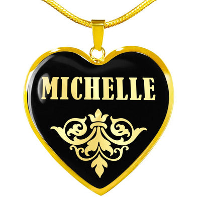 Michelle v02 - 18k Gold Finished Heart Pendant Luxury Necklace