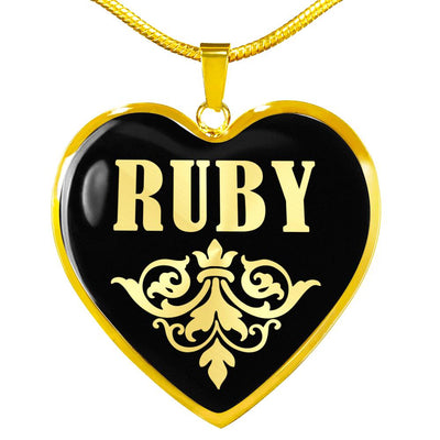 Ruby v02 - 18k Gold Finished Heart Pendant Luxury Necklace