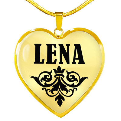 Lena v01 - 18k Gold Finished Heart Pendant Luxury Necklace
