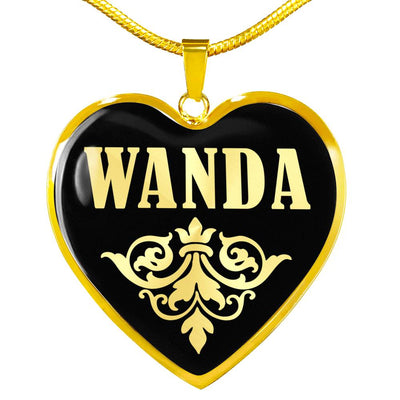 Wanda v02 - 18k Gold Finished Heart Pendant Luxury Necklace
