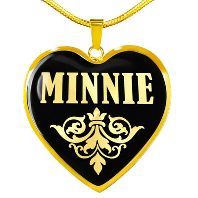 Minnie v02 - 18k Gold Finished Heart Pendant Luxury Necklace