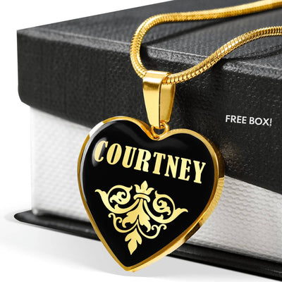 Courtney v02 - 18k Gold Finished Heart Pendant Luxury Necklace