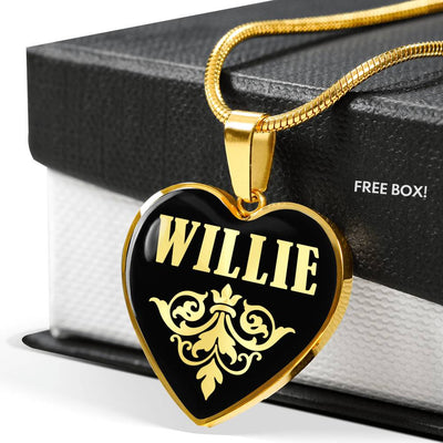 Willie v02 - 18k Gold Finished Heart Pendant Luxury Necklace