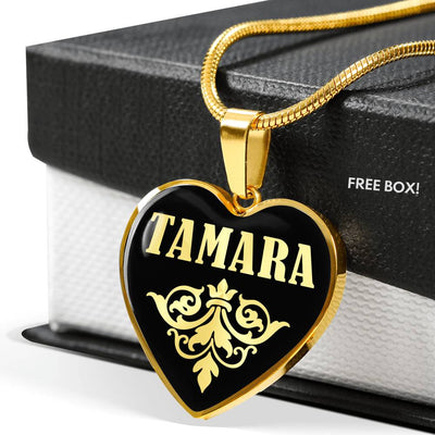 Tamara v02 - 18k Gold Finished Heart Pendant Luxury Necklace