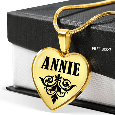 Annie v01 - 18k Gold Finished Heart Pendant Luxury Necklace