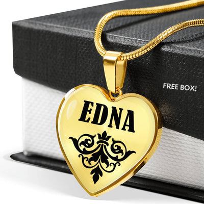 Edna v01 - 18k Gold Finished Heart Pendant Luxury Necklace