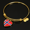 Norwegian Pride - 18k Gold Finished Heart Pendant Bangle Bracelet