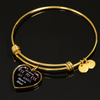 Always Heart To Heart - 18k Gold Finished Heart Pendant Bangle Bracelet