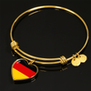 German Flag - 18k Gold Finished Heart Pendant Bangle Bracelet