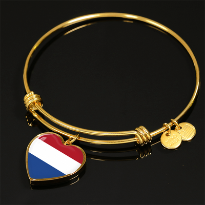 Dutch Flag - 18k Gold Finished Heart Pendant Bangle Bracelet