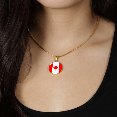 Canadian Flag - 18k Gold Finished Luxury Necklace