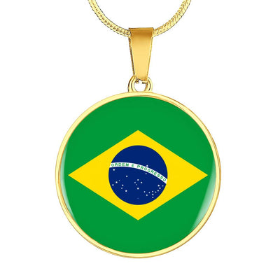 Brazilian Flag - 18k Gold Finished Luxury Necklace