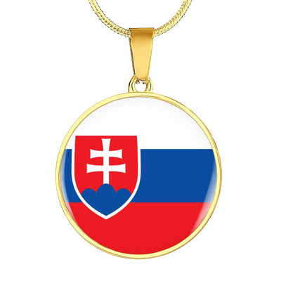 Slovak Flag - 18k Gold Finished Luxury Necklace