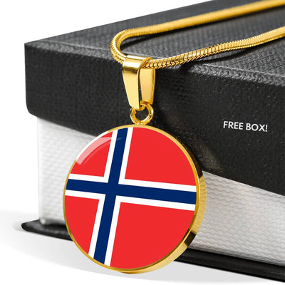Norwegian Flag - 18k Gold Finished Luxury Necklace