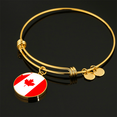 Canadian Flag - 18k Gold Finished Bangle Bracelet