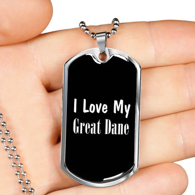 Love My Great Dane v2 - Luxury Dog Tag Necklace