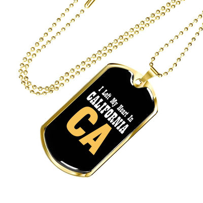 Heart In California - 18k Gold Finished Luxury Dog Tag Necklace