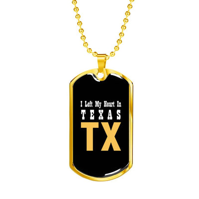 Heart In Texas - 18k Gold Finished Luxury Dog Tag Necklace