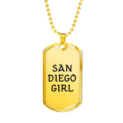 San Diego Girl - 18k Gold Finished Luxury Dog Tag Necklace
