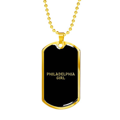 Philadelphia Girl v2 - 18k Gold Finished Luxury Dog Tag Necklace