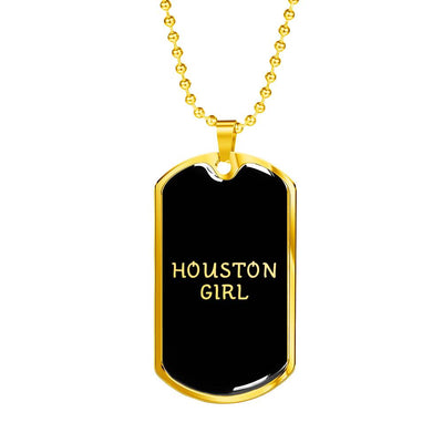 Houston Girl v2 - 18k Gold Finished Luxury Dog Tag Necklace