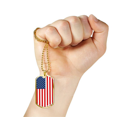 American Flag v1 - 18k Gold Finished Luxury Dog Tag Necklace