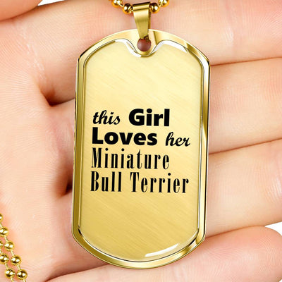 Miniature Bull Terrier - 18k Gold Finished Luxury Dog Tag Necklace