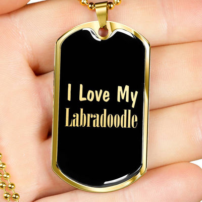 Love My Labradoodle v2 - 18k Gold Finished Luxury Dog Tag Necklace