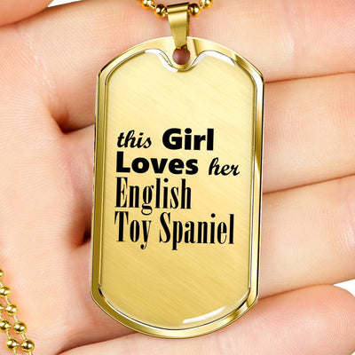 English Toy Spaniel - 18k Gold Finished Luxury Dog Tag Necklace
