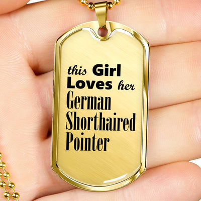 German Shorthaired Pointer - 18k Gold Finished Luxury Dog Tag Necklace
