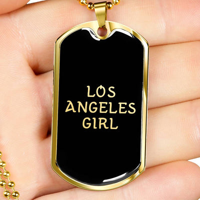 Los Angeles Girl v2 - 18k Gold Finished Luxury Dog Tag Necklace