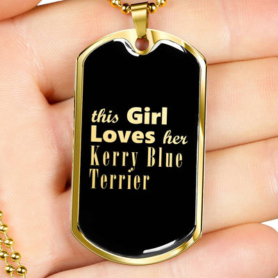 Kerry Blue Terrier v2 - 18k Gold Finished Luxury Dog Tag Necklace